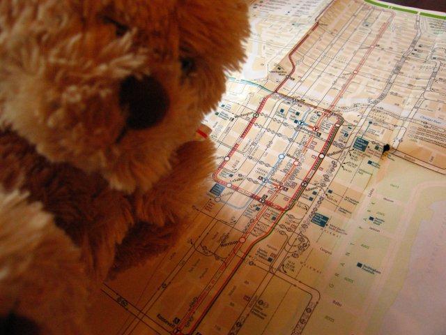 Freidrich consulte le plan du métro et bus de Chicago